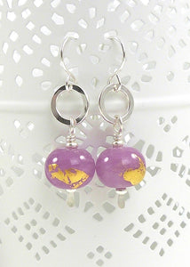 Heather Purple and gold leaf lampork glass bead and sterling silver drop earrings