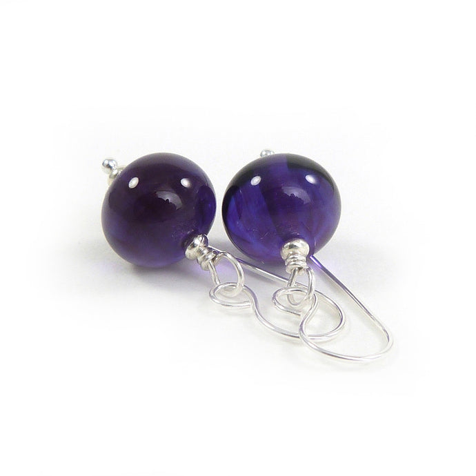 Transparent purple lampwork glass bead and silver drop earrings