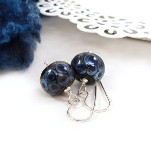 Blue lampwork glass dot bead and silver drop earrings