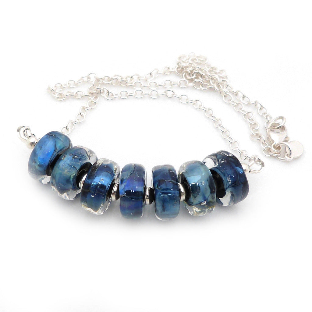 Blue Lampwork Glass Bead and Sterling Silver necklace