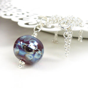 Burgundy & Blue speckled Lampwork Glass Bead Pendant with sterling silver chain