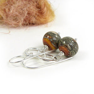 Ochre Yellow Organic-Style Lampwork Glass Bead and silver drop earrings