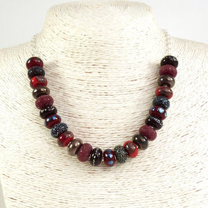 Red Lampwork glass bead and sterling silver handmade necklace