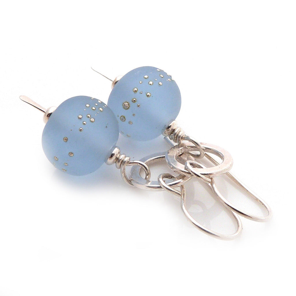 Baby blue lampwork glass bead and sterling silver drop earrings