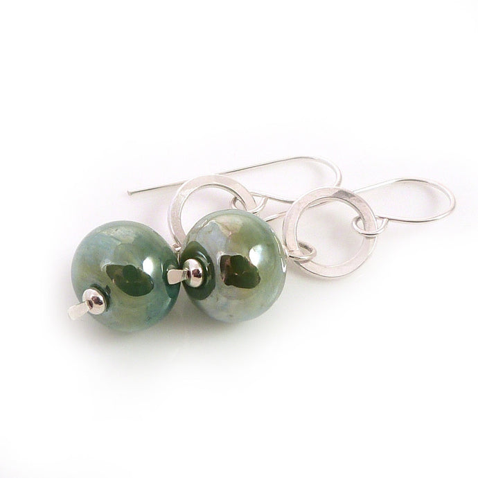 Drop Earrings with silver rings and metallic green lampwork glass beads
