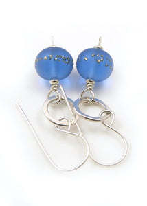 Mid Blue Lampwork Glass Bead and Sterling Silver Drop Earrings
