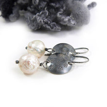 Drop Earrings with Silver Snowflake disc and baroque pearls