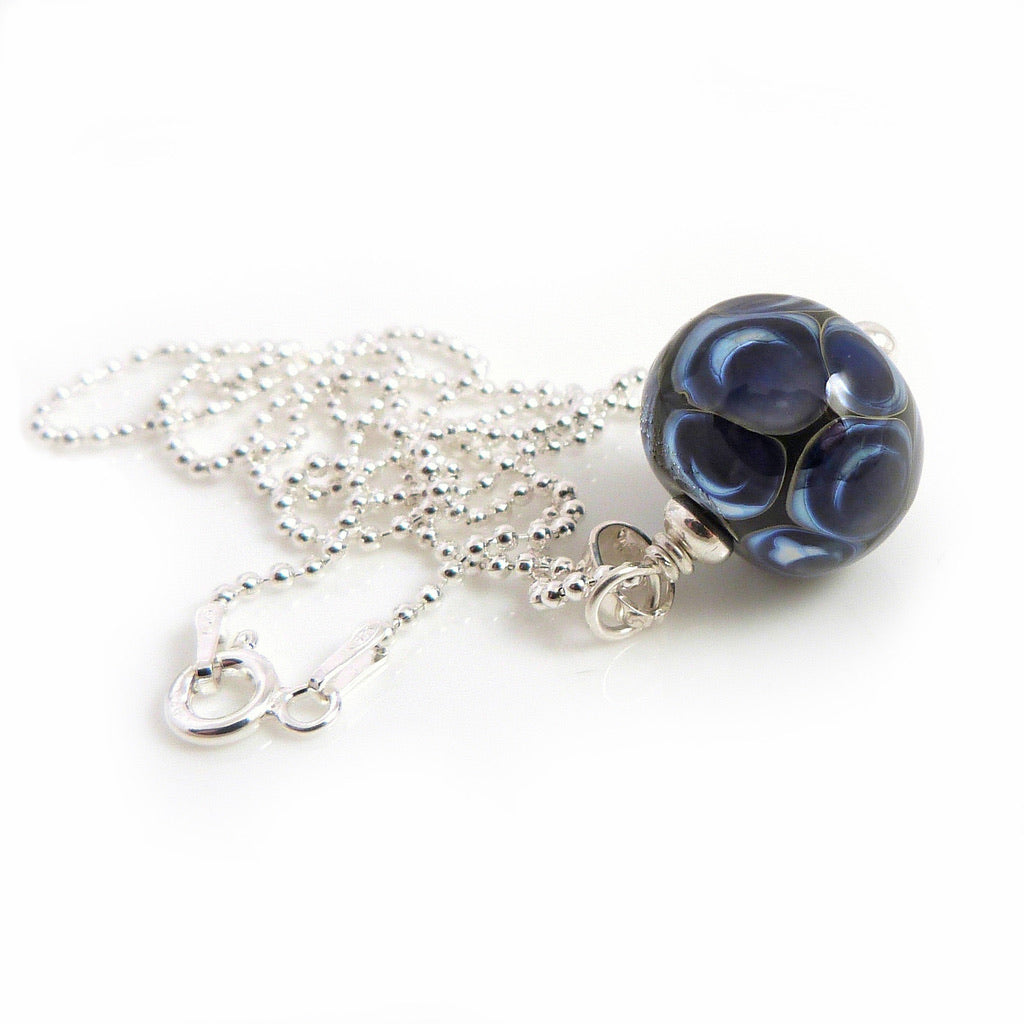 Blue Dot Lampwork Glass Pendant with Silver Chain
