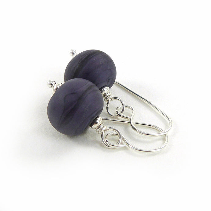 Blue violet lampwork glass bead and sterling silver earrings