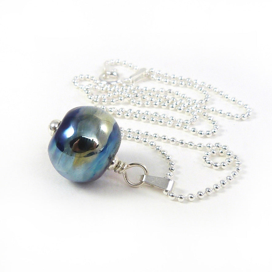 Blue and gold lampwork glass bead pendant with sterling silver chain