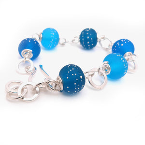 Bright Teal Blue Lampwork Bead and Silver Bracelet