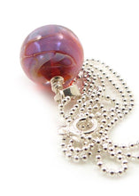 Milky purple lampwork glass bead pendant and sterling silver chain