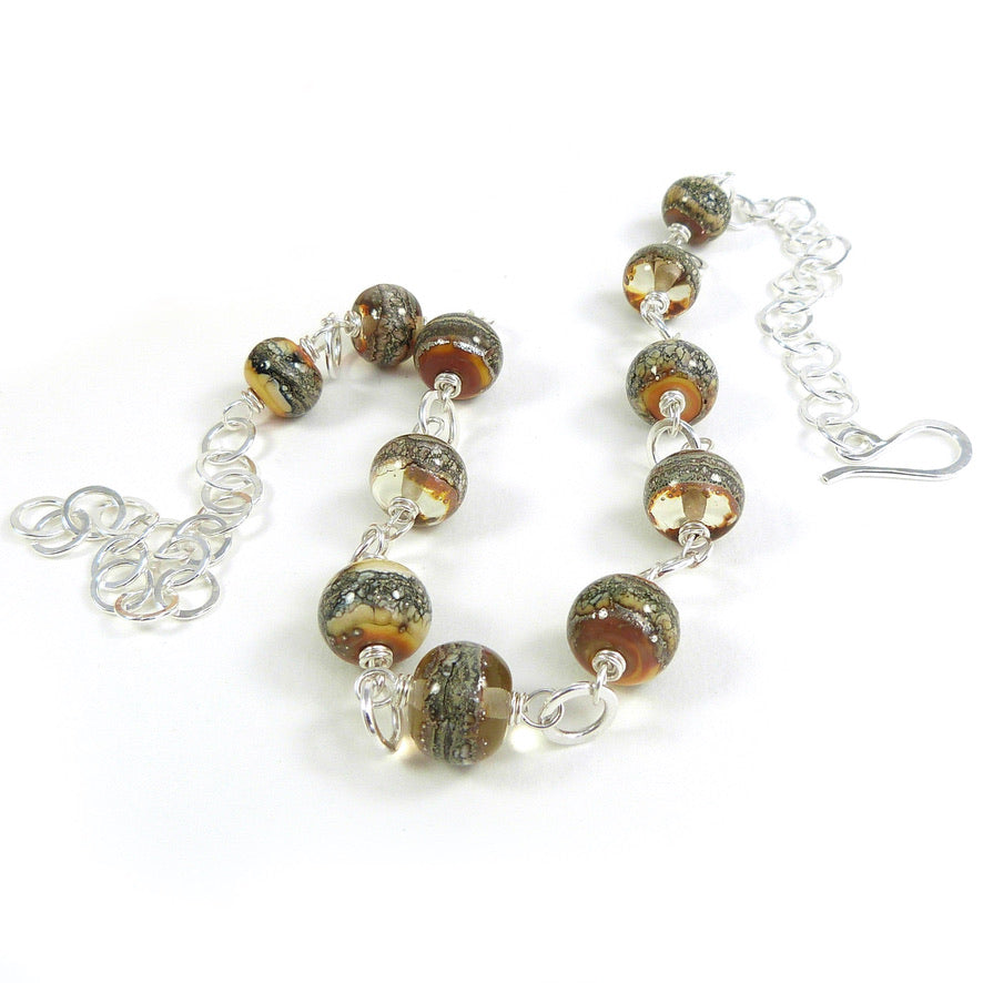 Yellow Lampwork Glass Bead and Sterling Silver Necklace ~ Candlelight ~