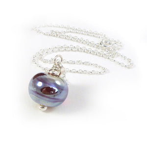 Raspberry and blue metallic lampwork glass bead pendant with sterling silver chain