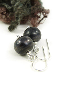 Grey-Brown Textured Lampwork Glass Bead and Silver Drop Earrings