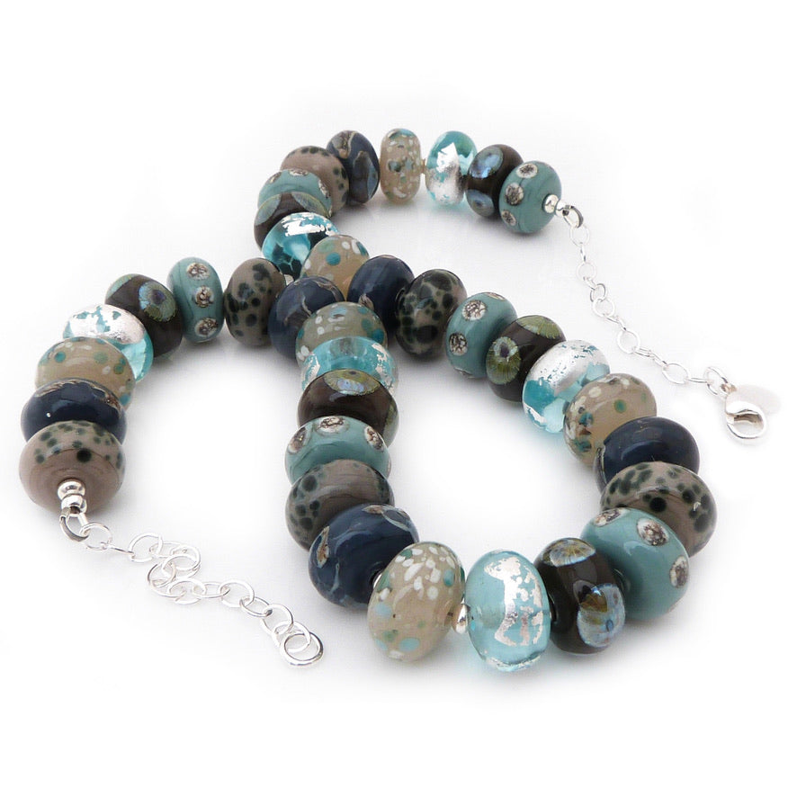 Steel blue and stone lampwork glass and silver necklace