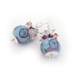 Blue & Pink Lampwork Glass Bead, gemstone and sterling silver drop earrings