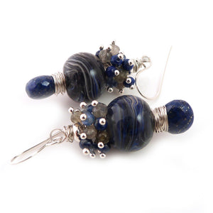 Blue and grey drop earrings with lampwork glass beads, gemstone clusters and lapis lazuli briolettes