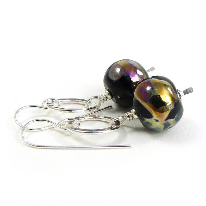 Black, gold & pink lampwork glass bead and sterling silver circle drop earrings