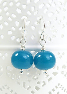 Peacock blue lampwork glass bead drop earrings