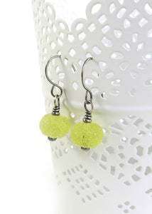 Acid Yellow Lampwork Glass and Silver Drop Earrings