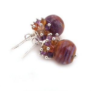 Amber and purple lampwork glass bead earrings with amethyst and garnet gemstone clusters