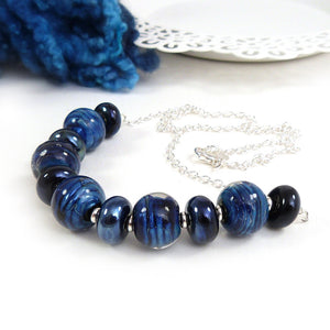 Dark Blue Lampwork Glass Bead and Silver NecklaceDark Blue Lampwork Glass Bead and Silver Necklace