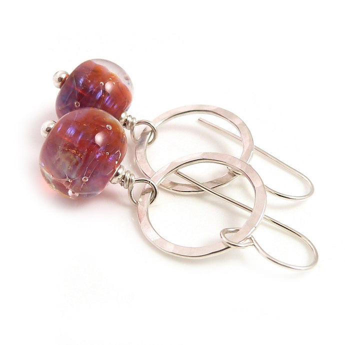 amber red lampwork glass bead and sterling silver circle drop earrings