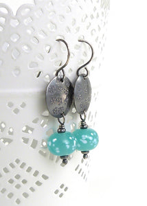 Ice Mint Green Lampwork Glass Bead and Snowflake Disc Oxidised Silver Drop Earrings
