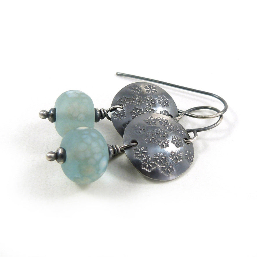 Frost Blue Lampwork Glass and Snowflake silver disc drop earrings