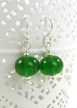 Bright Green Lampwork Glass Bead and Sterling Silver Earrings