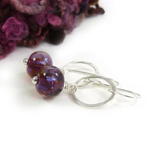 Plum Purple Lampwork Glass Bead and Silver Drop Earrings