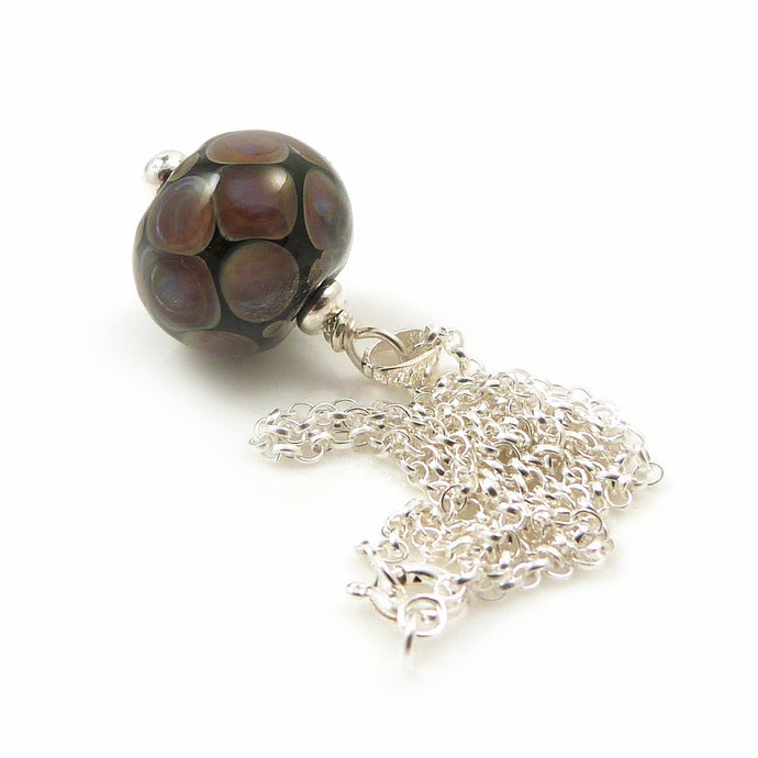 Tawny brown and lilac dotty lampwork glass bead pendant with sterling silver chainp