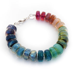 Iridescent Rainbow Lampwork Glass Bead and Sterling Silver Bracelet ~ Iris ~