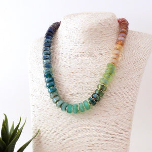 Rainbow Lampwork glass bead and silver necklace