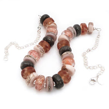 Peach lampwork glass bead and sterling silver necklace