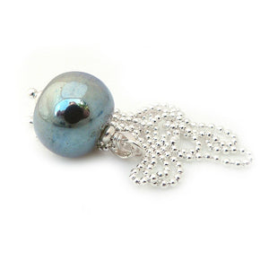 Light Blue-Gold Metallic Glass Bead Pendant with Silver Chain