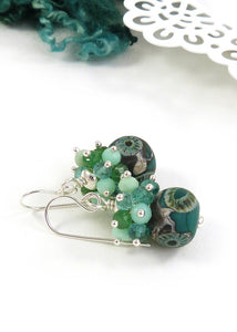 Green Lampwork Bead, gemstone and sterling silver drop earrings