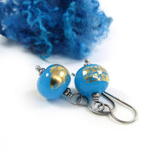 Sky blue and gold leaf bead earrings with oxidised silver earwires