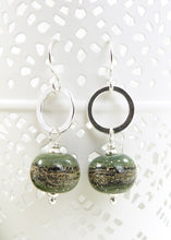 Olive green lampwork glass bead and silver drop earrings