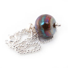 Bronze Rainbow Glass Bead Pendant and Silver Chain