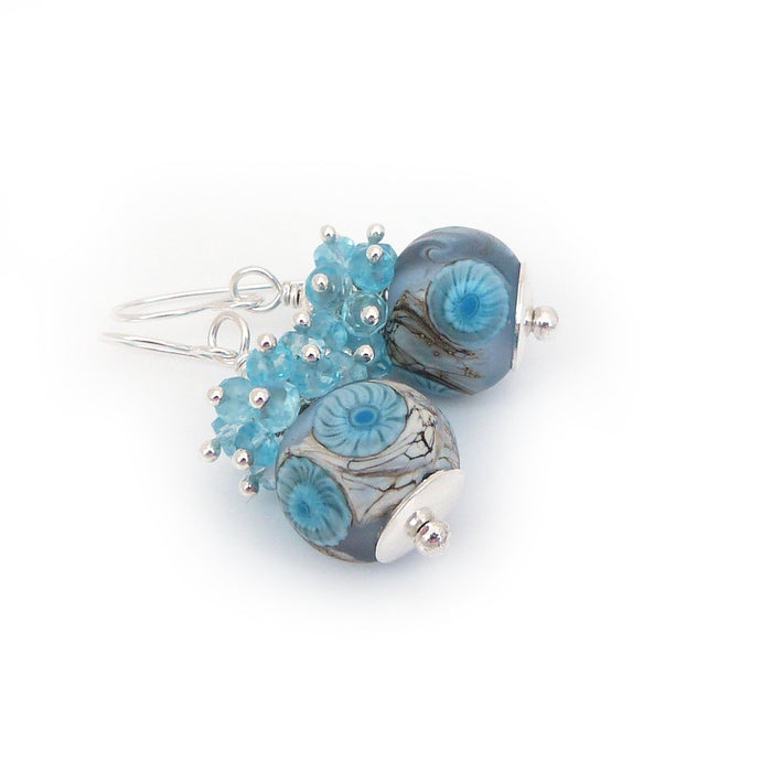 Aqua & baby blue Lampwork Bead, gemstone and sterling silver drop earrings
