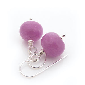 Pink Heather Lampwork Glass Bead and Silver Earrings