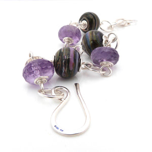 Chunky sterling silver chain Bracelet with purple stripy lampwork glass and amethyst gemstone beads
