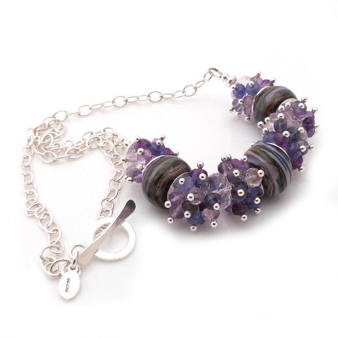 Lampwork Glass, Amethyst and Sterling Silver Necklace ~ Purple Heathers ~