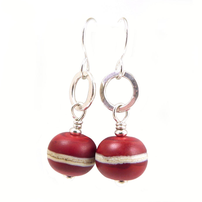 Red Lampwork and Silver Drop Earrings