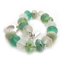 Mint and Lime Green Lampwork Glass Bead and Silver Bracelet ~ Citrus Mint ~