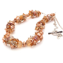 Beaded necklace with lampwork glass beads, citrine and golden pearls with sterling silver chain and toggle clasp