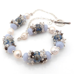 Blue and Cream Lampwork Glass, Gemstone, Silver and Pearl Necklace ~ Seaside ~