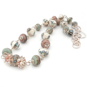 Cream Peach and Sage Green Lampwork Glass and Sterling Silver Beaded Necklace